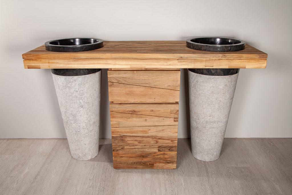 Waschtisch aus Marmor und Holz, Designermöbel